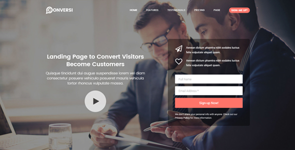 Conversi - Professional Conversion WordPress Landing Page
