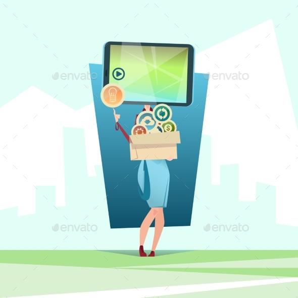 Woman Cell Smart Phone Head Social Network - Web Technology