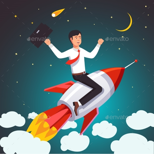 Successful Businessman on a Rocket - Concepts Business