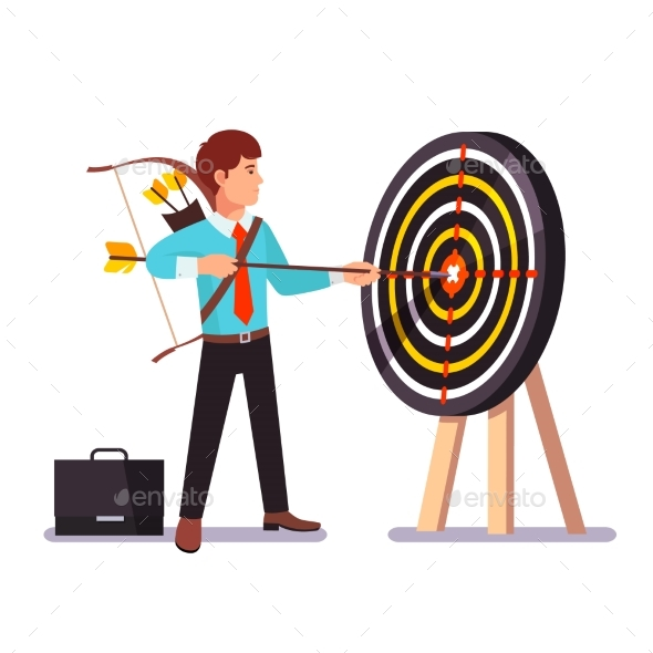 Businessman Hitting Target - Concepts Business