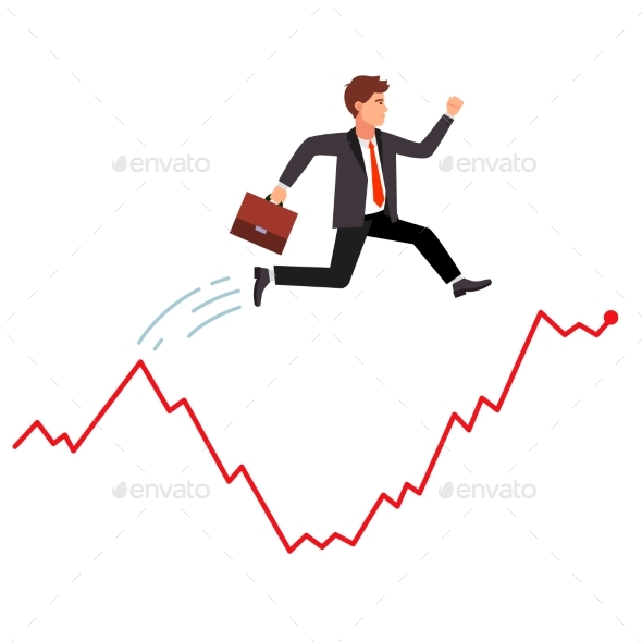 Smart Businessman Jumping Over Market Crisis - Concepts Business