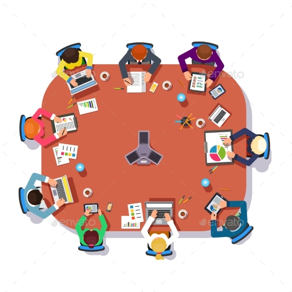 Business Meeting Over a Big Conference Desk - Concepts Business
