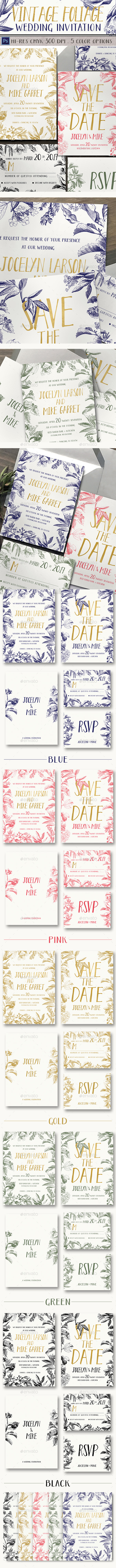 Vintage Foliage Wedding Invitation - Weddings Cards & Invites