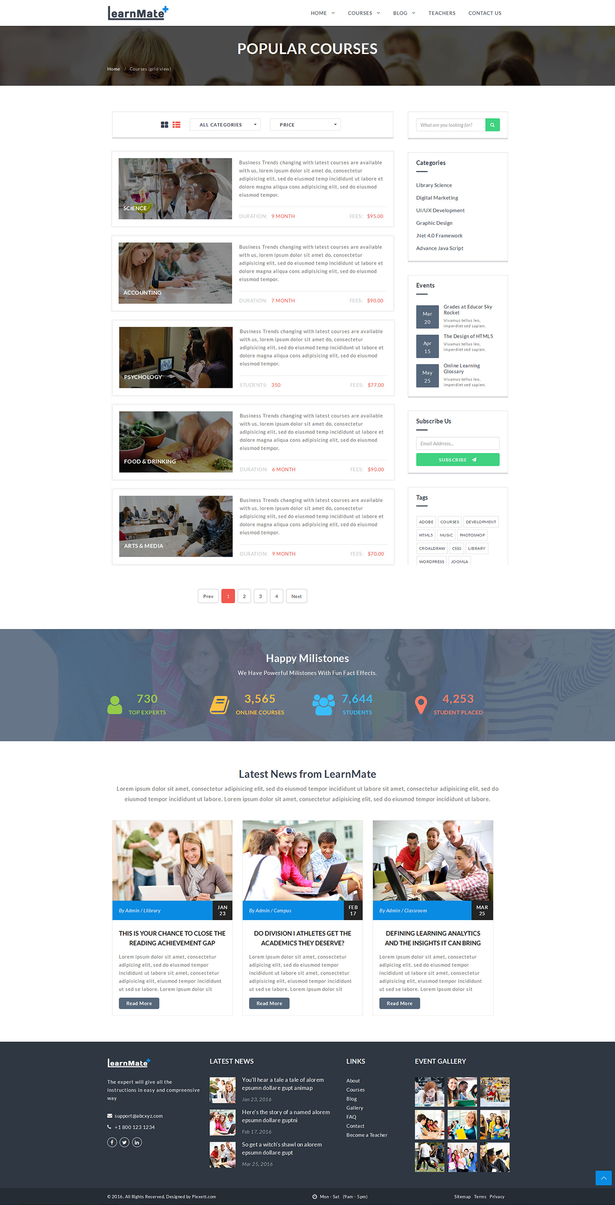Learnmate learning college courses education html template