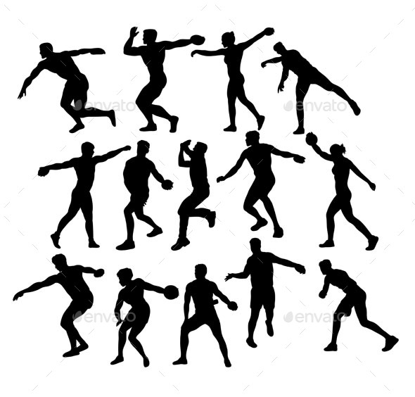 Discus Throwing Activity Silhouettes - Sports/Activity Conceptual