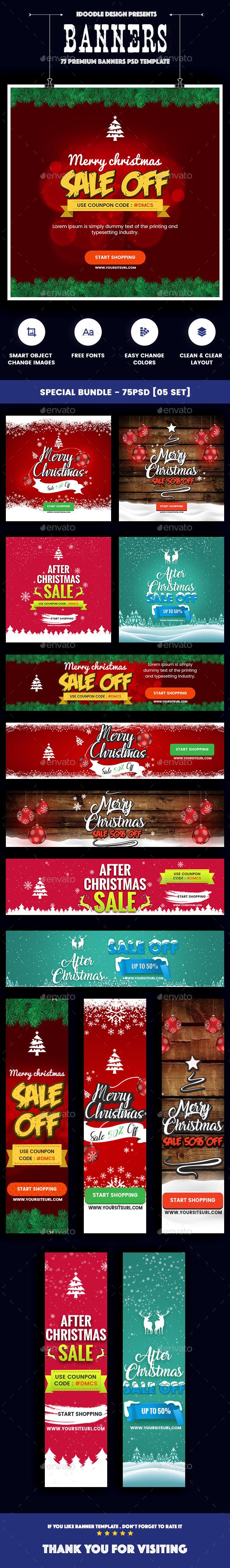Christmas Banners Ads - 75PSD [05 Set]