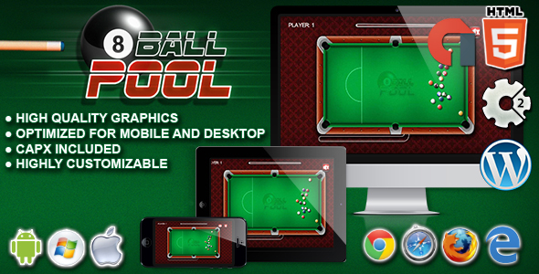 8 Ball Pool - HTML5 Construct 2 Game nulled free download