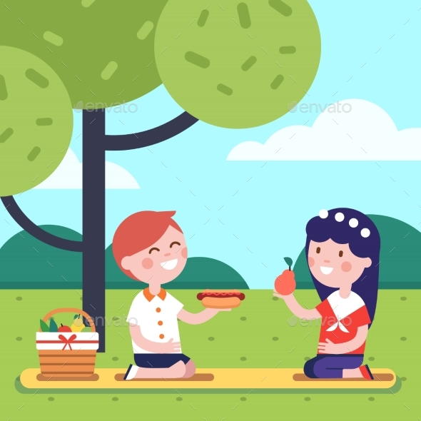 Boy and Girl Kids Having Lunch Picnic - Miscellaneous Vectors