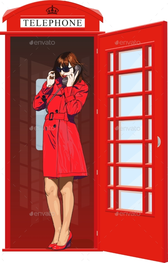 Girl in an English Phone Booth - People Characters