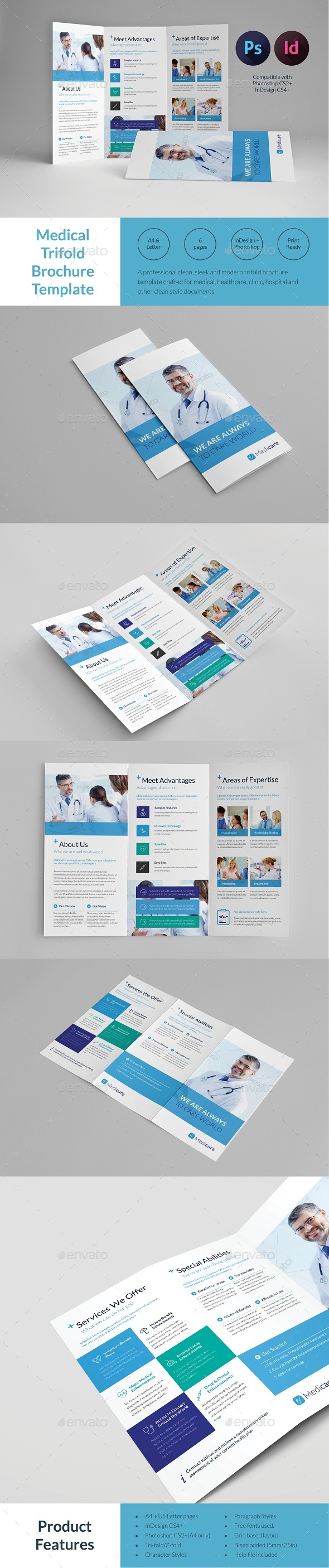 Medical trifold brochure template by tontuz graphicriver for Informational brochure templates free