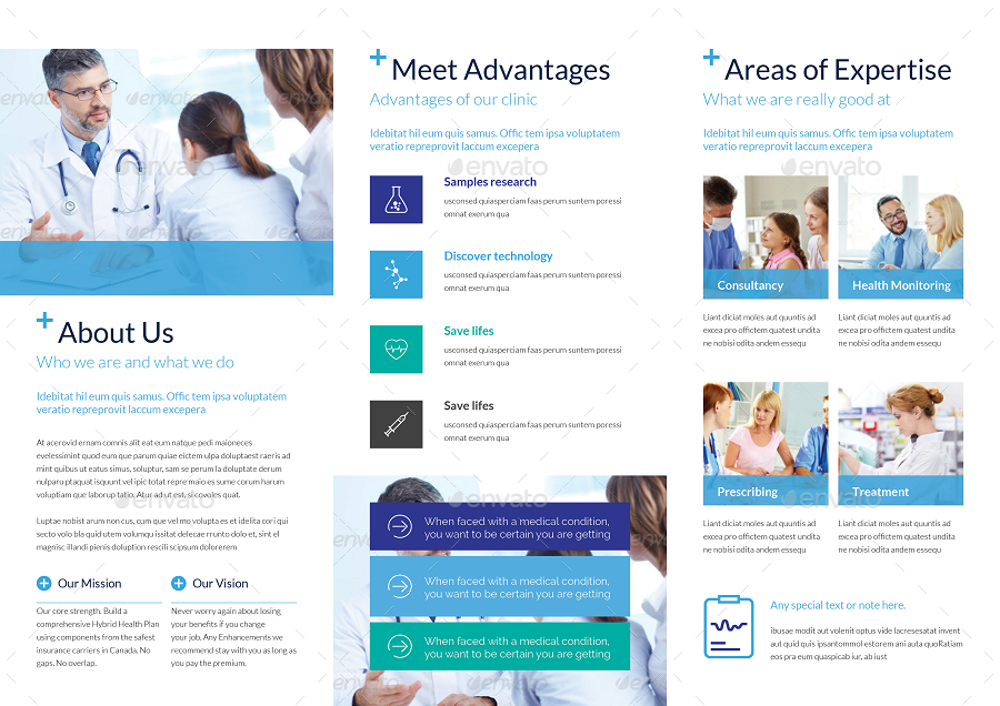 Medical trifold brochure template by tontuz graphicriver for Clinic brochure template