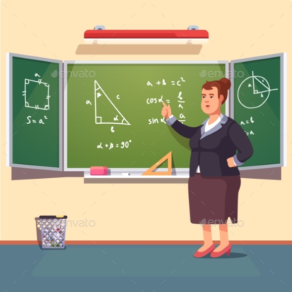 Teacher Woman Giving a Trigonometry Lecture - People Characters