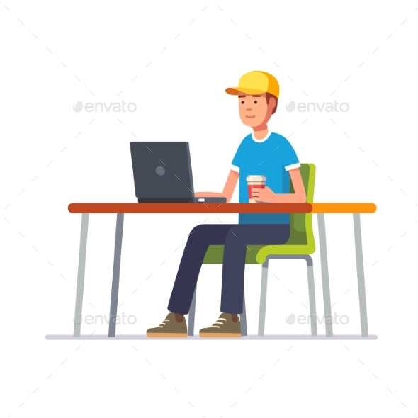 Young Man in Cap Working at His Clean Office Desk - Computers Technology