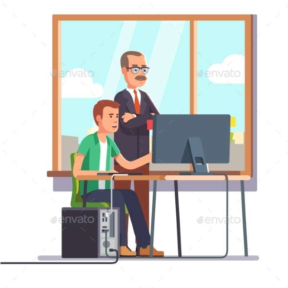 Happy Boss Watching Over Shoulder of an Employee - Concepts Business