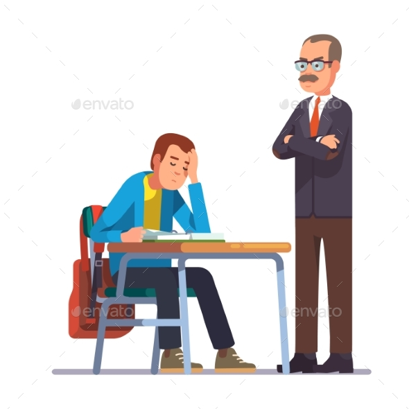 Teacher Looking at a Sleeping Teen Student - People Characters