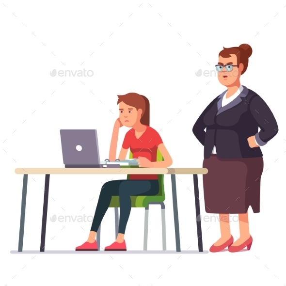 Boss Woman Looking at Exhausted Employee - People Characters
