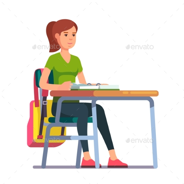 Teen Student Girl Sitting at Her School Desk - People Characters