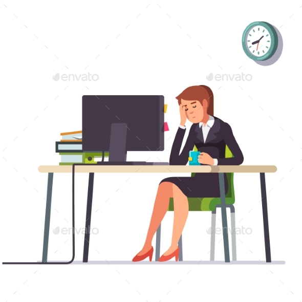 Business Woman Fell Asleep at Her Office Desk - People Characters
