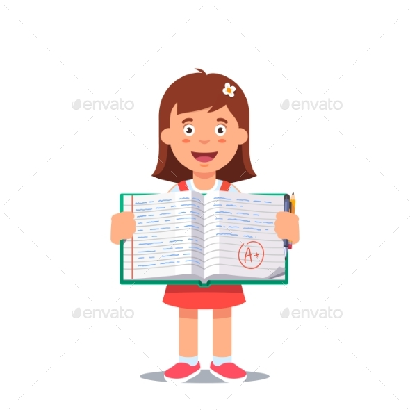 Girl and Open School Workbook with Handwriting - People Characters