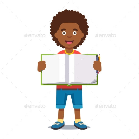 Boy and Open School Workbook with Handwriting - People Characters