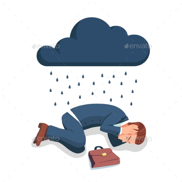 Depressed Business Man Lying on the Floor - Concepts Business