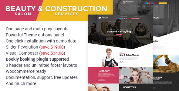 Beauty Salon & Construction Services WordPress Theme