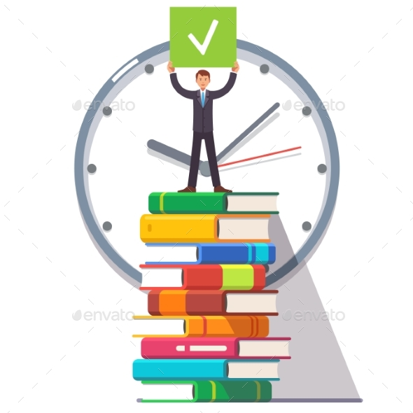 Business Man Standing on a Stack of Books - Concepts Business
