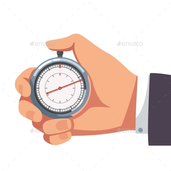 Businessman Holding Thumb Finger on Stopwatch - Concepts Business
