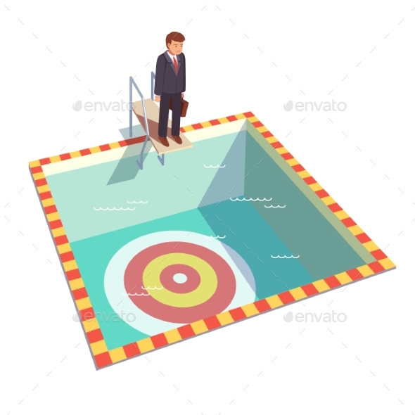 Businessman Ready To Dive in Pool for a Goal - Concepts Business