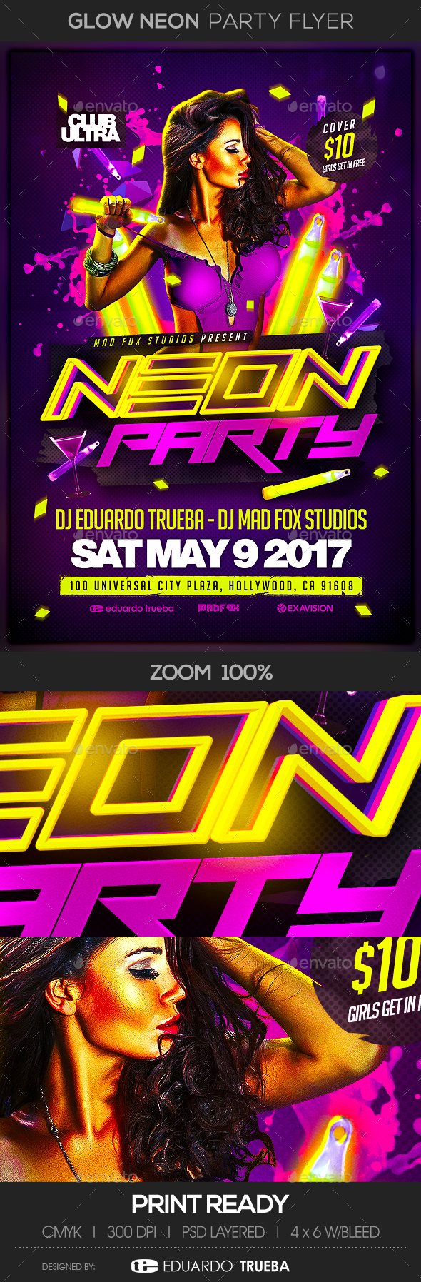 Glow Neon Party Flyer - Clubs & Parties Events
