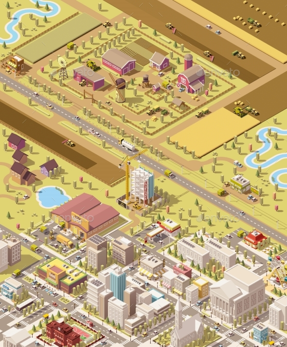 Vector Isometric Low Poly Farm and City - Buildings Objects