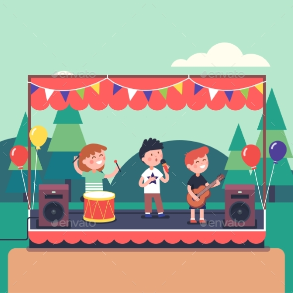 Kids Music Band Playing at Public Park Festival - Seasons/Holidays Conceptual