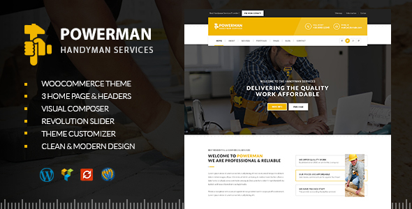 POWERMAN - Handyman Services WordPress - Business Corporate