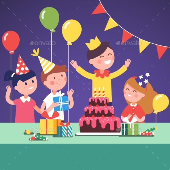 Kids in Funny Hats Celebrating a Boy Birthday - Birthdays Seasons/Holidays