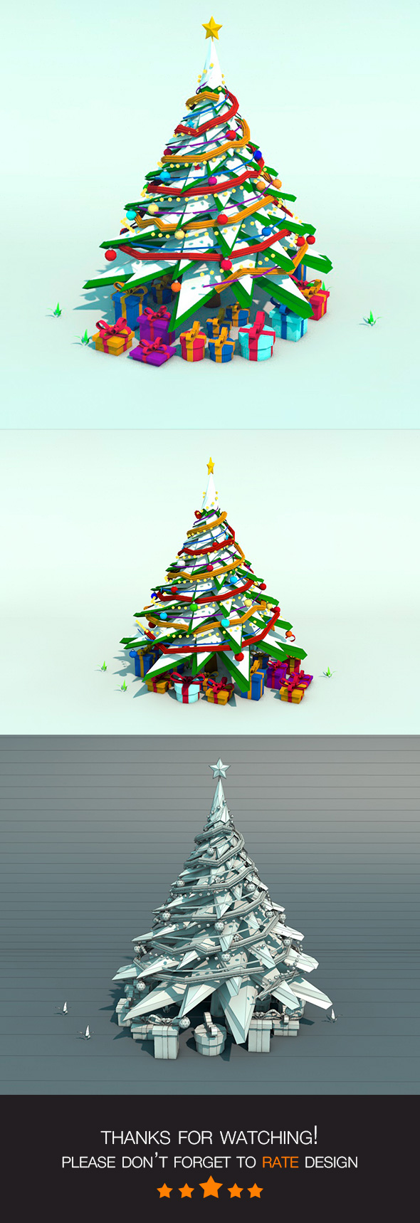 Low Poly Snow Christmas Tree - 3DOcean Item for Sale