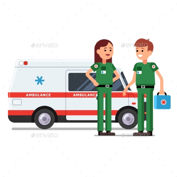 Two Paramedics Workers in Front of Ambulance Car - Health/Medicine Conceptual