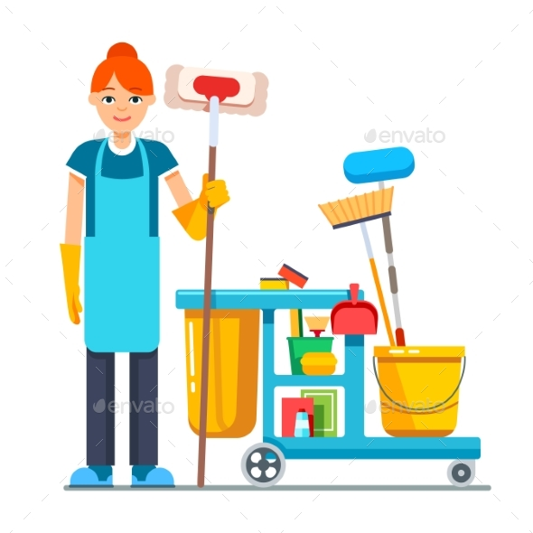 Professional Cleaner Woman with Janitor Cart - People Characters