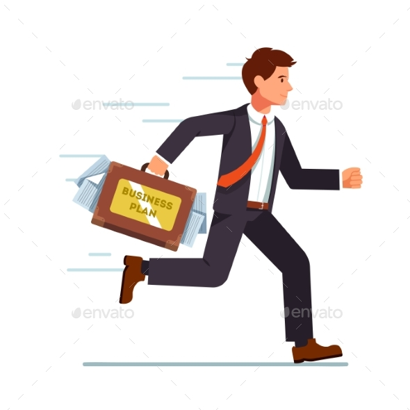 Businessman Running with Business Plan in Suitcase - Concepts Business