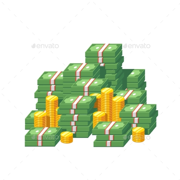 Stacked Packs of Dollar Bills and Gold Coins - Concepts Business