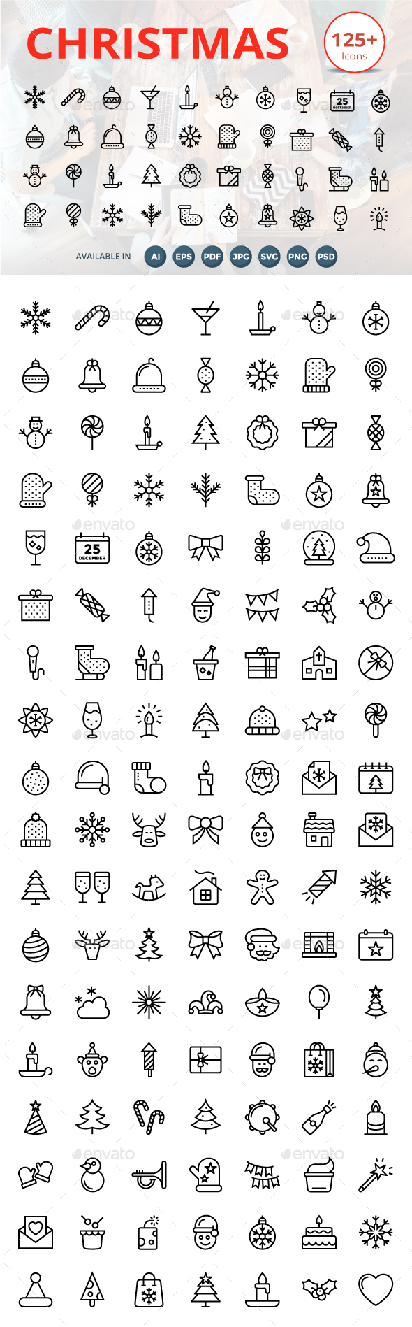 125 plus Christmas Line Icons - Icons