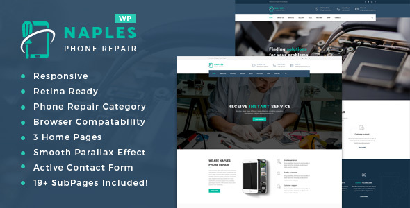 Naples - Phone, Computer Repair Shop WordPress Theme - Business Corporate