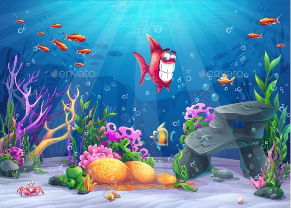 Undersea with Funny Fish - Landscapes Nature