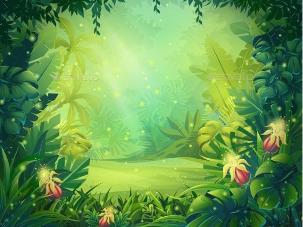 Vector Cartoon Illustration of Background Morning - Landscapes Nature