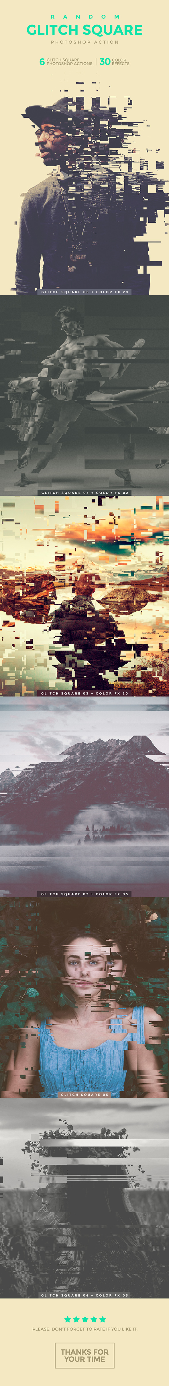 Random Glitch Square Photoshop Action - Photo Effects Actions