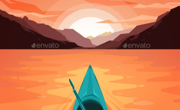 Canoe on Lake. Sunset. - Landscapes Nature