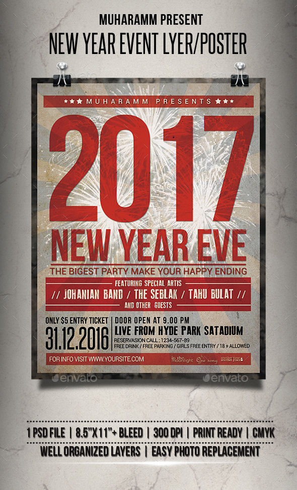 New Year Event Flyer / Poster - Clubs & Parties Events