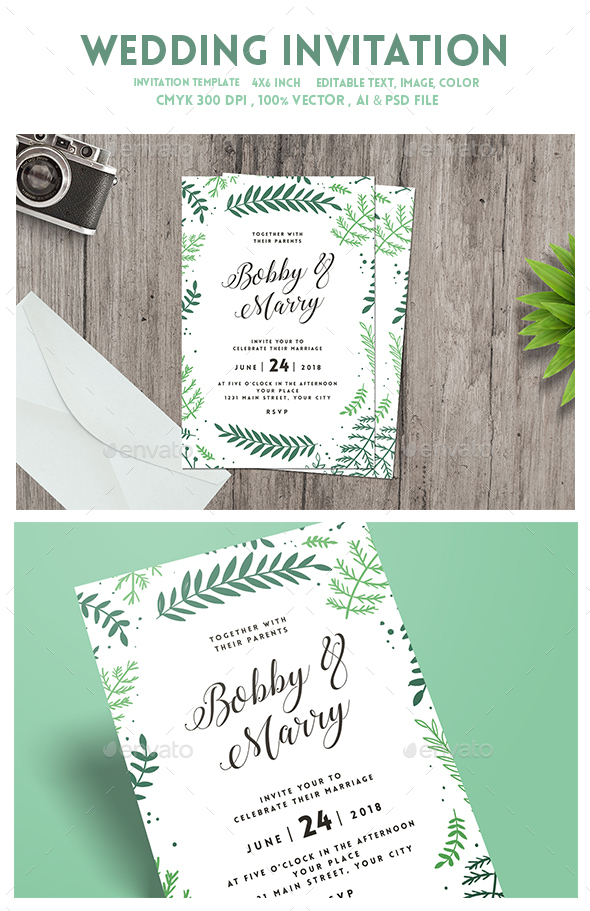 Green Floral Wedding Invitation - Weddings Cards & Invites