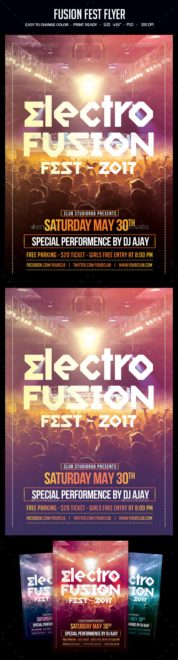 Fusion Fest Flyer - Clubs & Parties Events