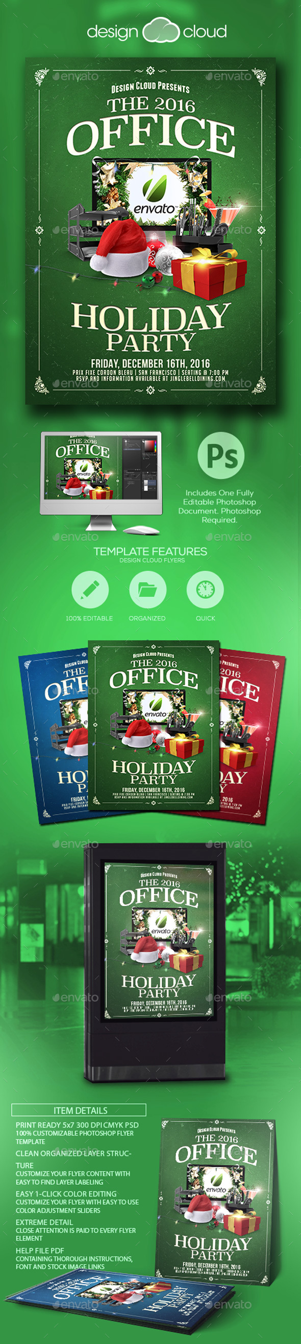 Office Holiday Christmas Party Flyer Template - Holidays Events