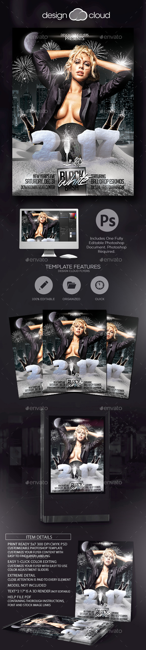 Black and White Bash NYE Flyer Template - Holidays Events
